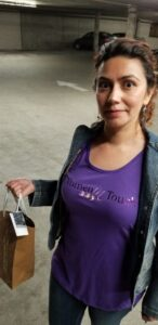 Marleen with purple Women in Touch Shirt